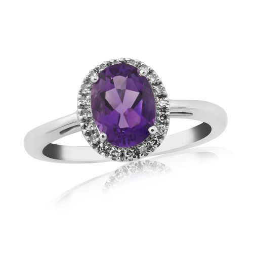 Oval Cut Amethyst And Diamond 9 Carat White Gold Cluster Ring
